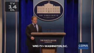 snl melissa mccarthy s sean spicer hit white house press with podium