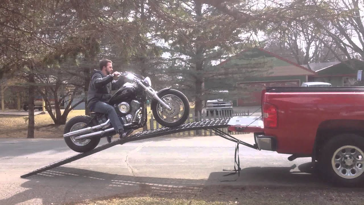 2015 Chevrolet Silverado 1500 >> Black Widow HD Motorcycle Ramp - YouTube