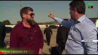 Рамзан Кадыров проверил ход строительства моста через реку Аксай и водопровода в Ишхой-Юрте