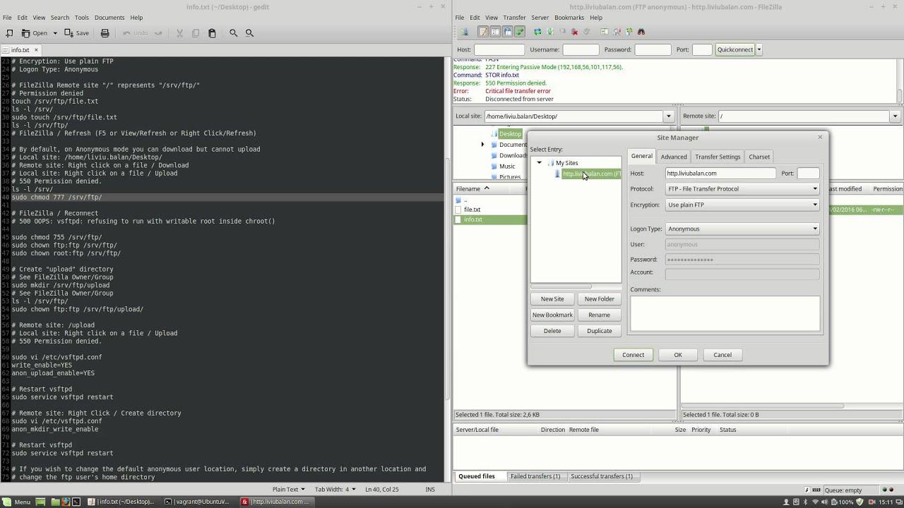 FTP Server (vsftpd) Anonymous user configuration on Ubuntu