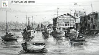How to Draw Landscape with Sailboats | Easy and Simple Pencil Strokes