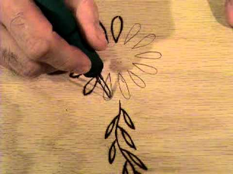 making flower woodburning signs, PART 6 - YouTube