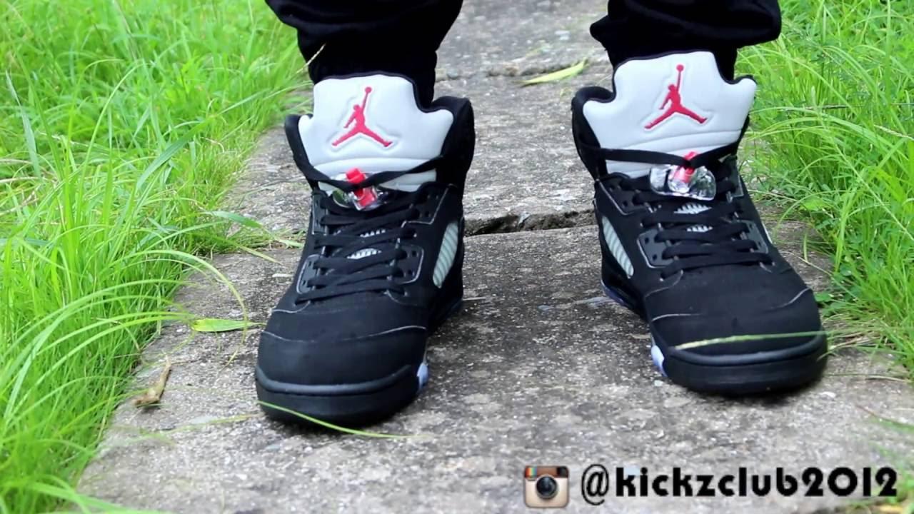 b637b76179e149 Air Jordan 5 OG Black Silver 2016 on feet - YouTube