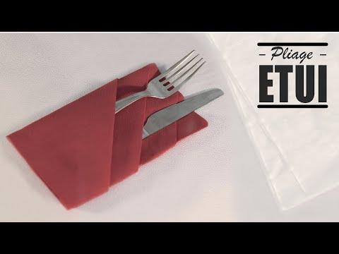 Pliage De Serviette Noel Porte Couverts Youtube