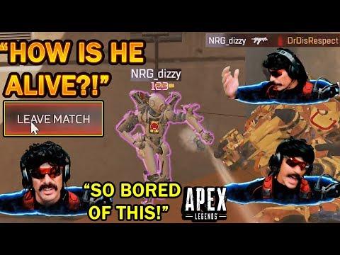 DrDisrespect RAGE QUITS Apex Match After Dizzy SURVIVES A Peacekeeper HEADSHOT! (Broken Damage!)