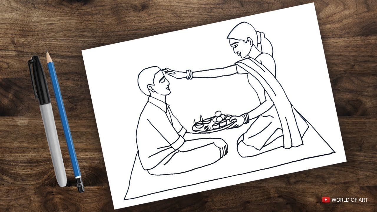 How to draw bhai dooj bhau beej drawing by world of art