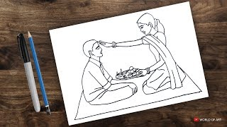 how to draw bhai dooj | bhau beej drawing | raksha bandhan | brother and sister