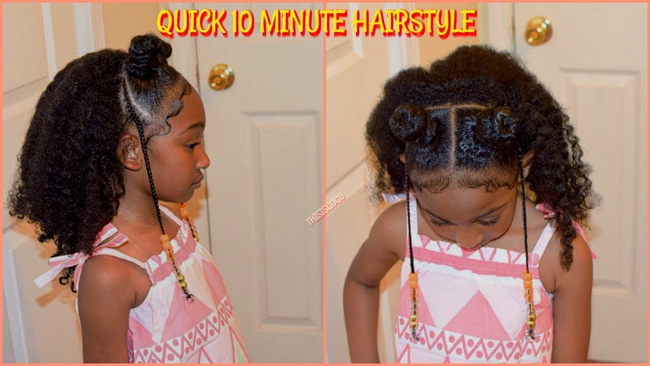 quick/easy 10 minute kids/ girls natural hairstyles| back to school protective braid hairstyle
