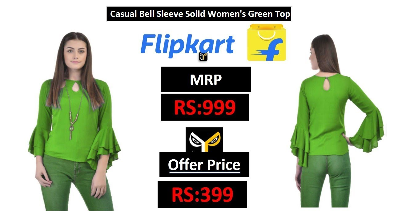 7dcb49293a802 Casual Bell Sleeve Solid Women s Green Top - YouTube