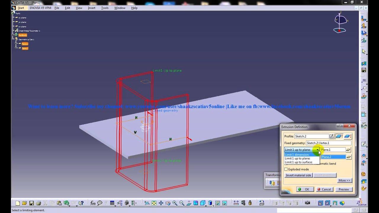 Catia V5 Tutorial Generative Sheetmetal Workbench Creating