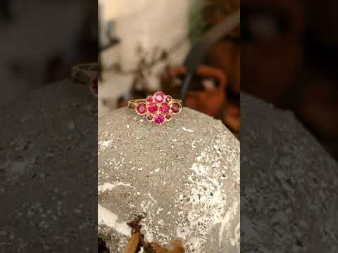14K Yellow Gold Ruby Antique Style Ring