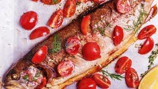 Форель запеченная в духовке с овощами / Baked fish (trout) stuffed with veggies(Приготовление в домашних условиях радужной форели в духовке с овощами. Очень вкусное и полезное блюдо...., 2016-09-06T10:04:34.000Z)
