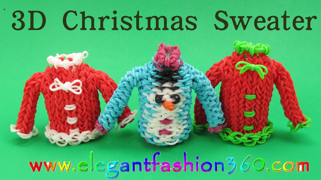 Rainbow Loom Christmas Sweater 3D Charm/Holiday/Ornament How to ...