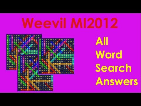 Bin Weevils - All Word Search Answers