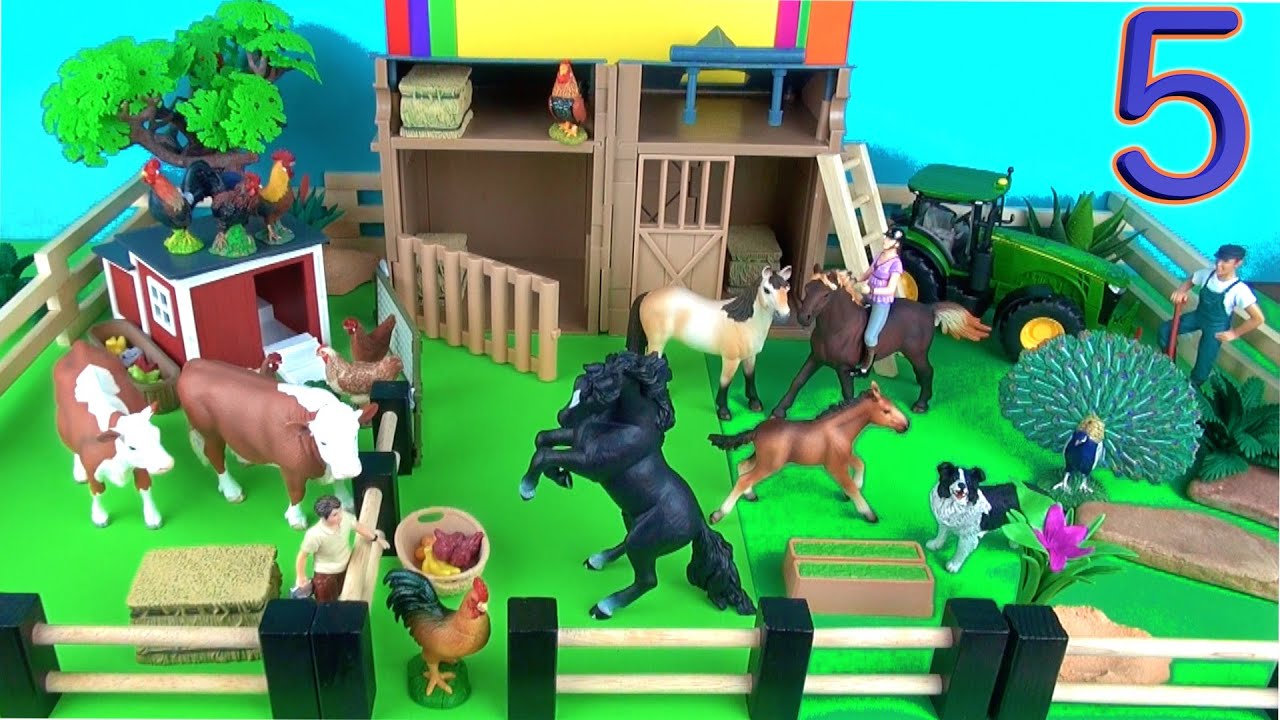 9 Country Farm Animals Surprise Toys 3D Puzzle Rooster Horses