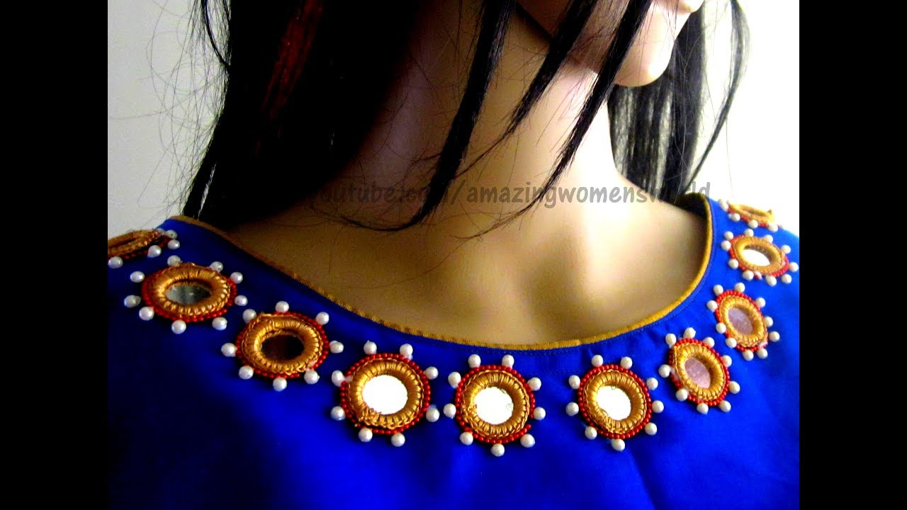 Mirror Work Neck Design for Kameez / Kurti / Blouse