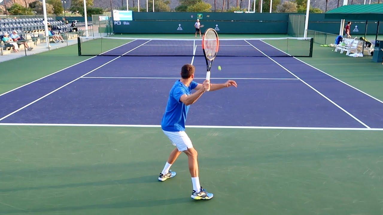 Pablo Carreno Busta Training Court Level View Indian Wells - ATP Tennis Practice