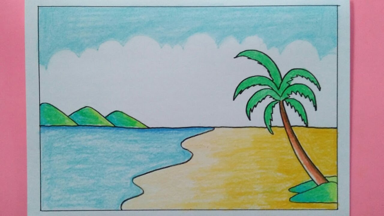 How To Draw A Sea Beach Scenery - Easy Drawing - YouTube