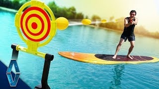 NERF Trick Shots On A Lake Challenge!