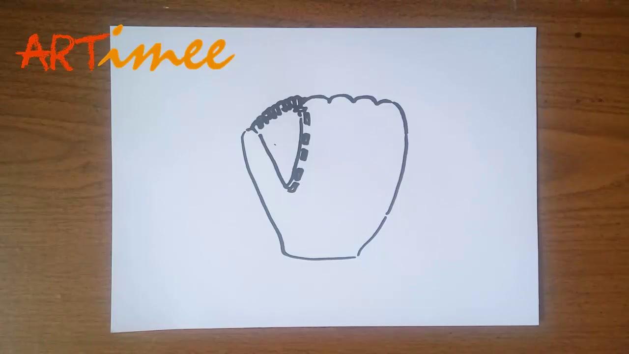 How to Draw a Baseball Glove - YouTube