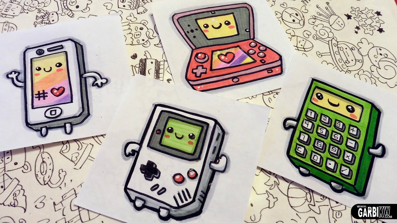 How To Draw Kawaii Electronic Devices - Game Boy, Iphone, nintendo ...