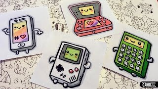 How To Draw Kawaii Electronic Devices - Game Boy, Iphone, nintendo 3ds and Calculator