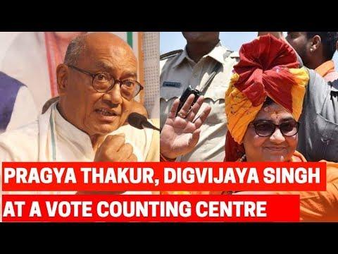 BJP's candidate Pragya Thakur and Congress candidate Digvijaya Singh at the counting center