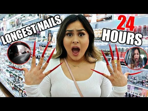 WEARING LONG ACRYLIC NAILS FOR 24 HOURS!!