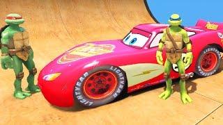 Черепашки Ніндзя : автобус і червона гоночний автомобіль Блискавка Маквін мультфільм Дісней Піксар Тачки 2