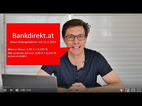Bankdirekt.at Depot: Neue Ordergebühren ab 15.04.2019