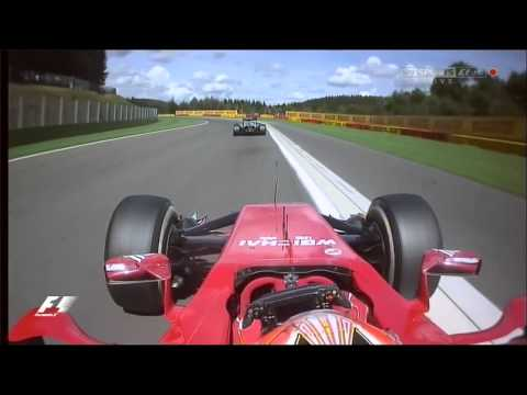 Kimi Raikkonen overtakes Esteban Gutierrez and Jenson Button onboard Spa 2014