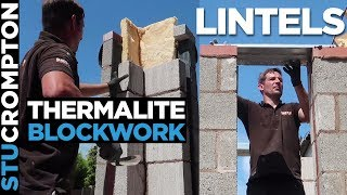 Bricklaying-Porch thermalite Block work and putting catnic lintels on