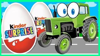 Трактор - Грузовик - Комбайн. Машинки. Свинка Пеппа. Киндер сюрприз - Боулинг. Спецтехника