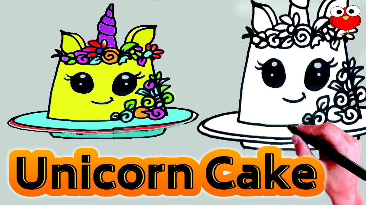 How to Draw Unicorn Cake Step by Step for Kids Easy Lesson ...