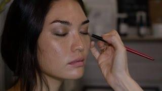 Green beauty  Make up artist applies organic solutions