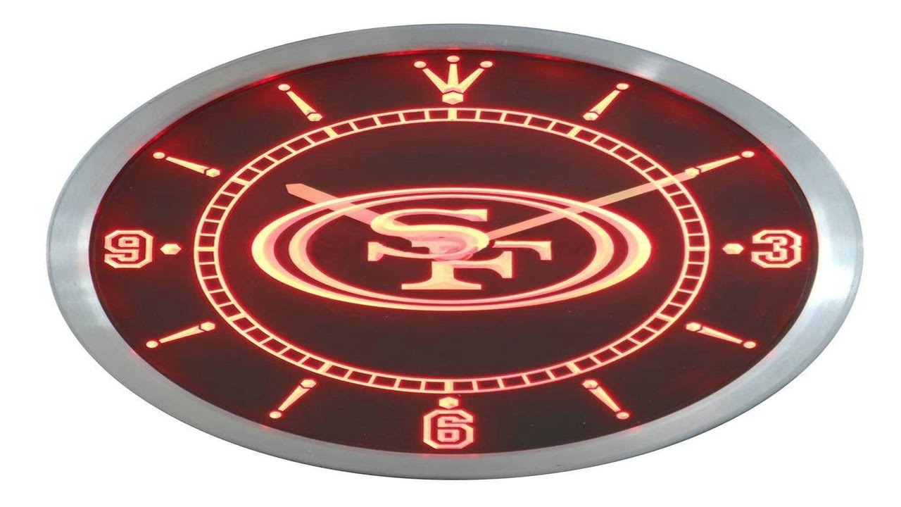 San francisco 49ers led neon wall clock youtube san francisco 49ers led neon wall clock amipublicfo Image collections