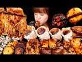ASMR 매콤한 마라 팽이버섯, 새송이버섯, 표고버섯, 양송이버섯과 참소라 먹방 .MUKBANG