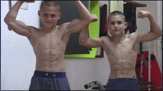 90 degree pushups Giuliano 13 years old and 11 Claudio