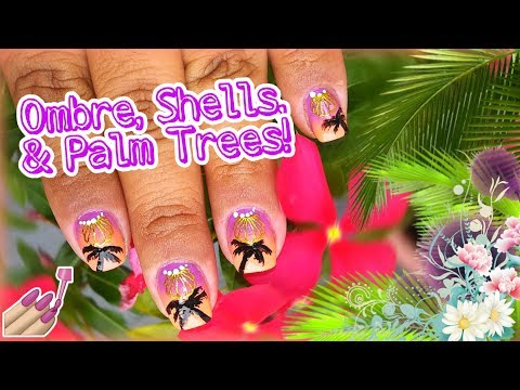 🌴 Ombre, Shells, & Palm Trees Nail Art Collab | Diseño | Short Nails | MAENAILDESIGNS