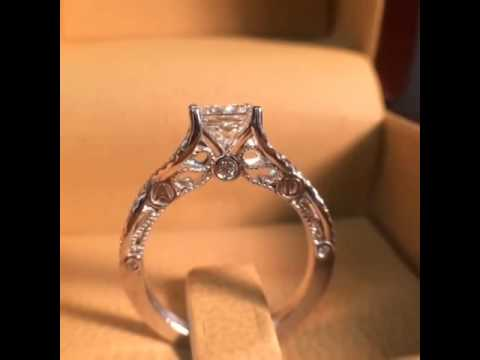 Vintage Inspired Princess Cut Engagement Ring