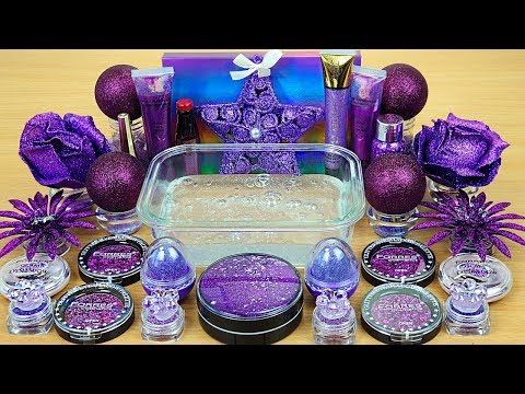 Purple Glitter Slime | Season Glitter | Mixing makeup and glitter into Clear Slime thumbnail