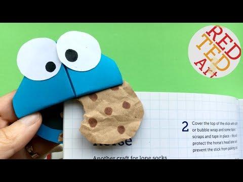 Easy Cookie Monster Bookmark Corner DIY - Cute Bookmark DIYs