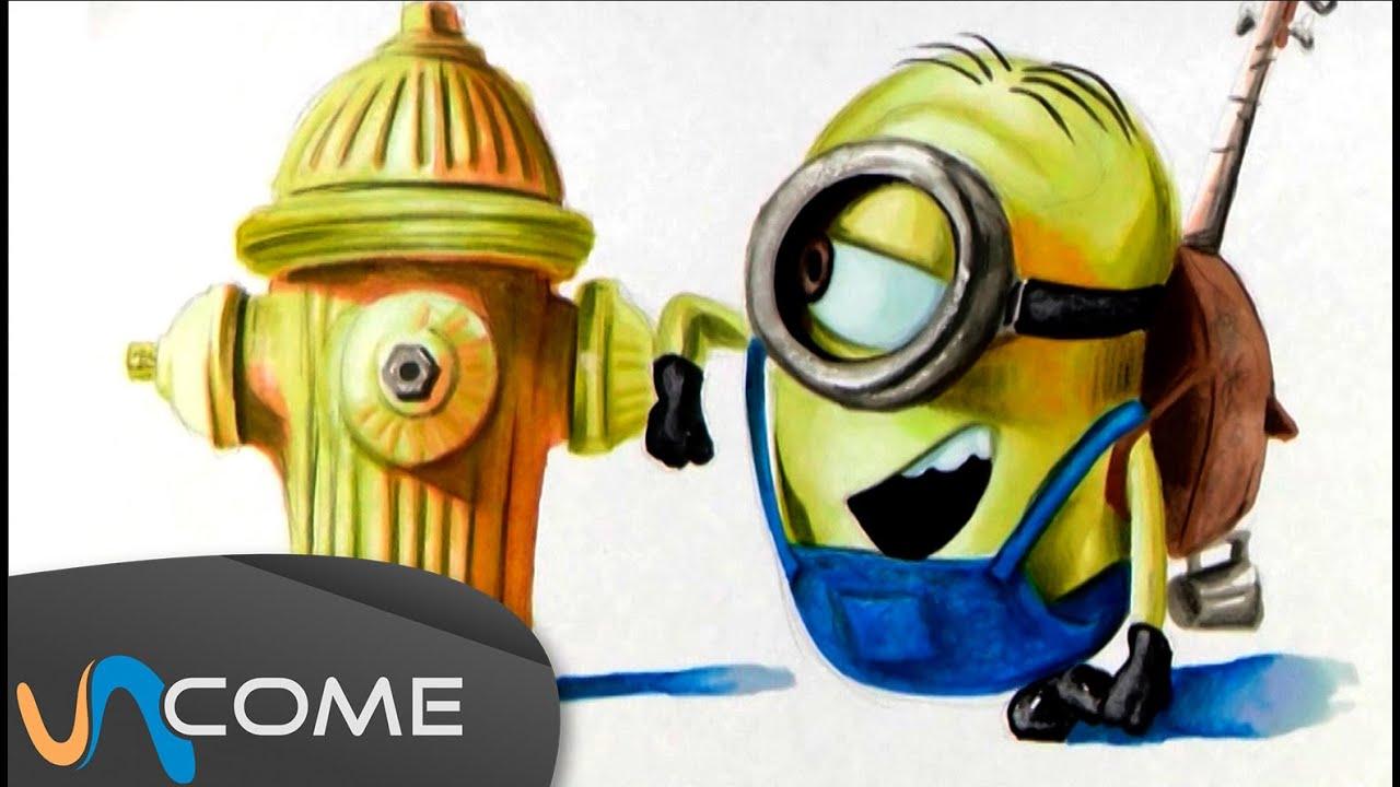 Disegni minions stuart a colori youtube for Immagini dei minions da colorare