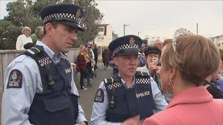 Hilary Barry patrols with officers from Wellington Paranormal as royal mania hits Wellington