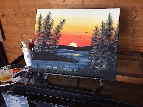 """""""Thankful Sunset"""" Beginner Acrylic Tutorial"""