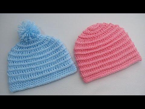 d176ac56ea3ab Gorrito para bebé 3 a 6 meses crochet - YouTube