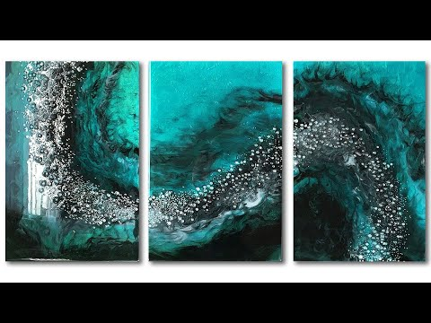 Creating a 3 Panel Triptych resin art - Creating flow across 3 panels