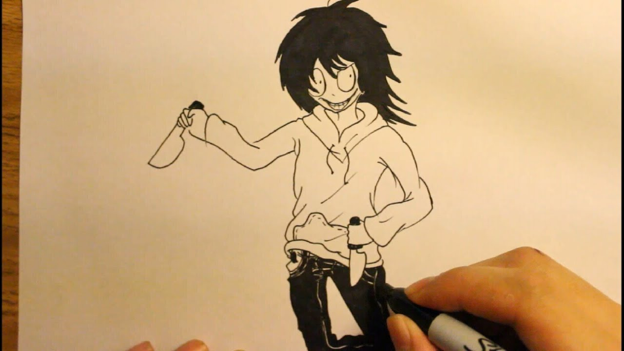 how to draw jeff the killer step by step easy anime youtube