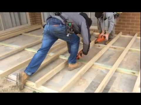 Decking Sub Floor Over Concrete & Paving - YouTube