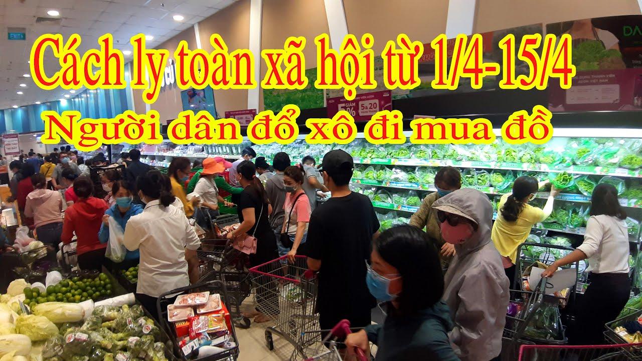 Dân Sài Gòn đổ xô đi mua thực phẩm trước giờ cách ly toàn xã hội   Linh Pro